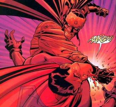 Batman mit Pelzmütze vermöbelt Superman. (DC Comics)