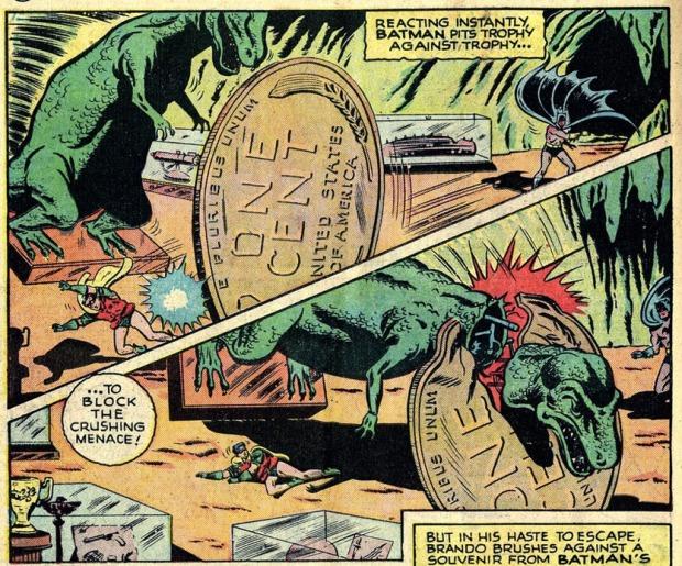 Dinosaurier und Münze in der Bathöhle