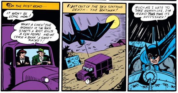 Batman tötet mit dem Maschinengewehr