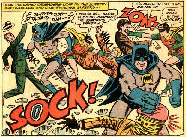 Batman prügelt sich durch Lautwörter.