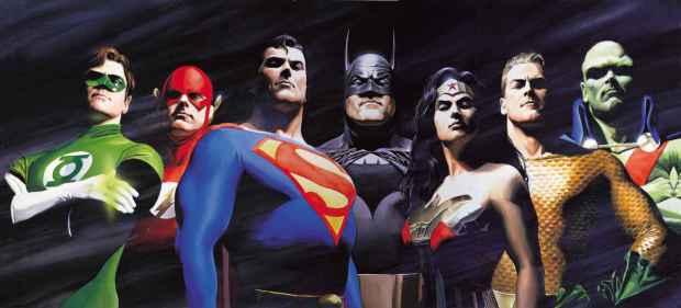 Green Lantern, Aquaman, Flash, Superman, Batman, Wonder Woman, Martian Manhunter