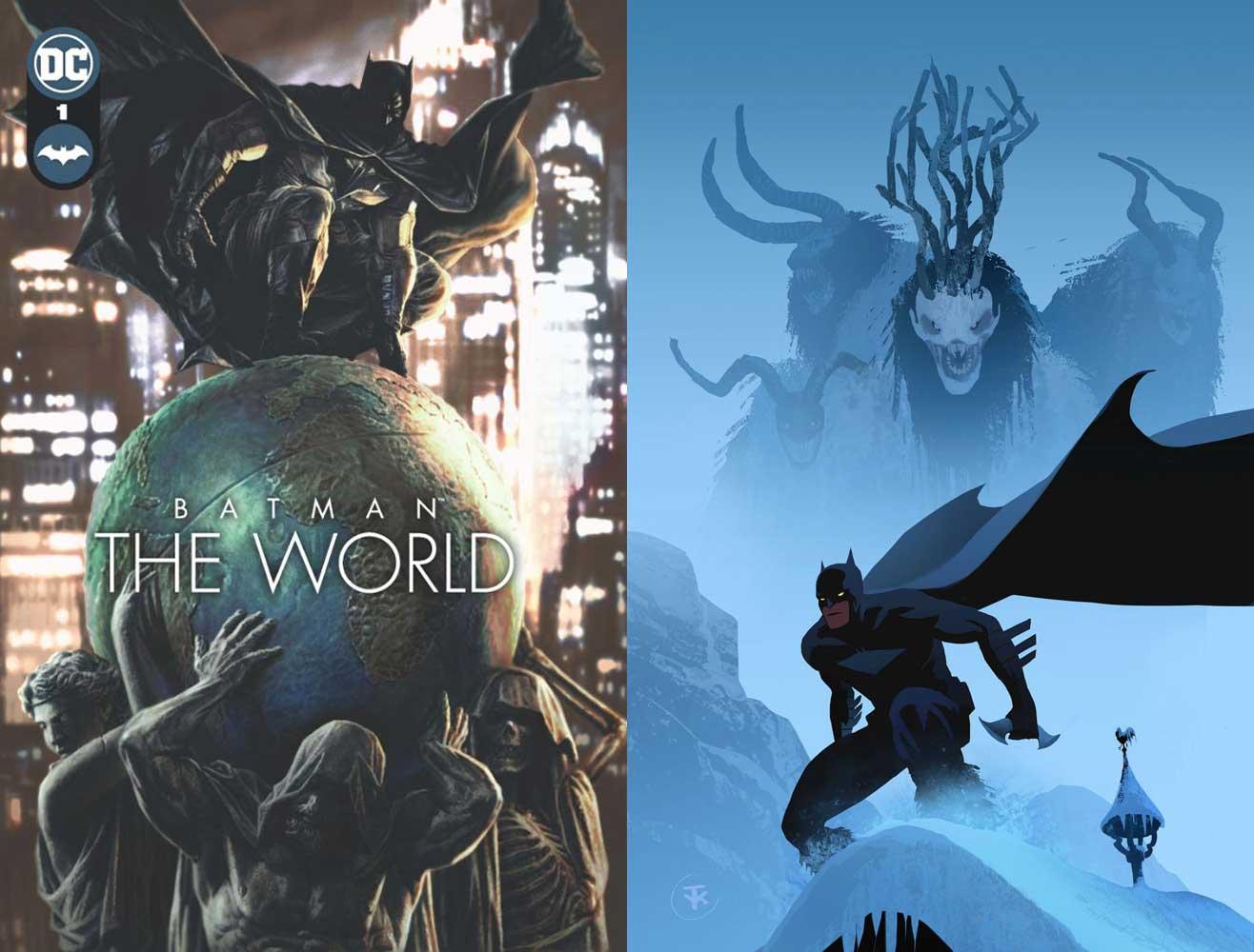 Batman - The World. Links die normale Ausgabe, rechts das limitierte Deutschland-Cover.